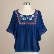 Navy Embroidered Lola Top