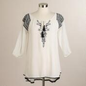 Ivory Tribal Embroidered Mikalah Tunic