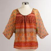 Orange Mosaic Tiana Blouse