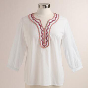 White Embroidered Mariella Top