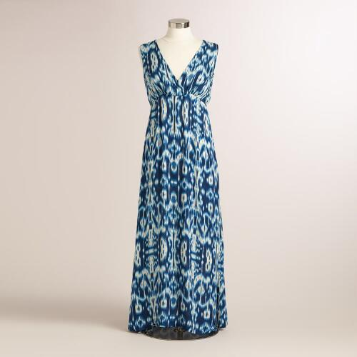 Blue Ikat Java Maxi Dress