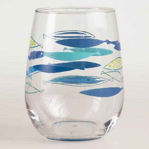 Mod Fish Libbey Stemless Wine Glasses, Set of 4