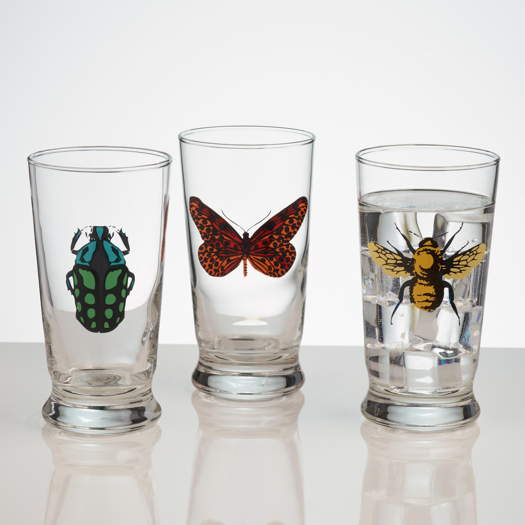 World Market Insect Glass Tumblers, Set of 3