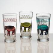 Elephant Glass Tumblers, Set of 3