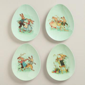 Vintage Bunny Melamine Egg Plates, Set of 4