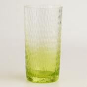 Acrylic Green Ombre Hobnail Glasses, Set of 6