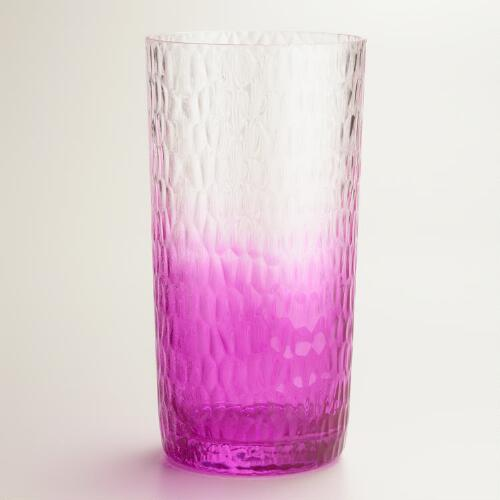 Acrylic Pink Ombre Hobnail Glasses, Set of 6
