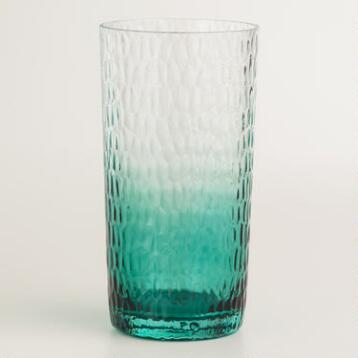 Aqua Ombre Hobnail Glasses, Set of 4