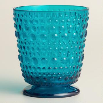 Acrylic Aqua Footed Hobnail Glasses, Set of 6