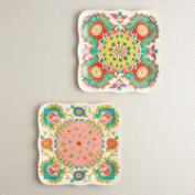 Melamine Scalloped Dinner Plates, Set of 2