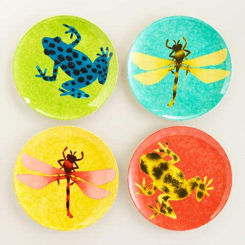 Melamine Dragonfly and Frog Salad Plates, Set of 4
