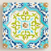 Melamine Square Sufi Tile Dinner Plates, Set of 4