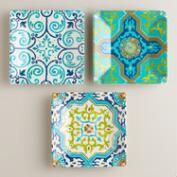 Melamine Sufi Tile Appetizer Plates, Set of 3