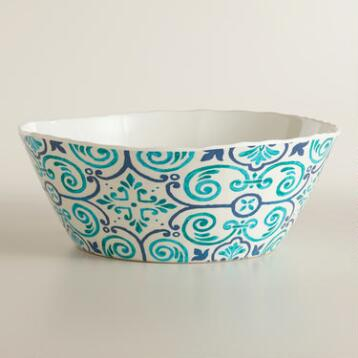 Melamine Turquoise Sufi Tile Serving Bowl