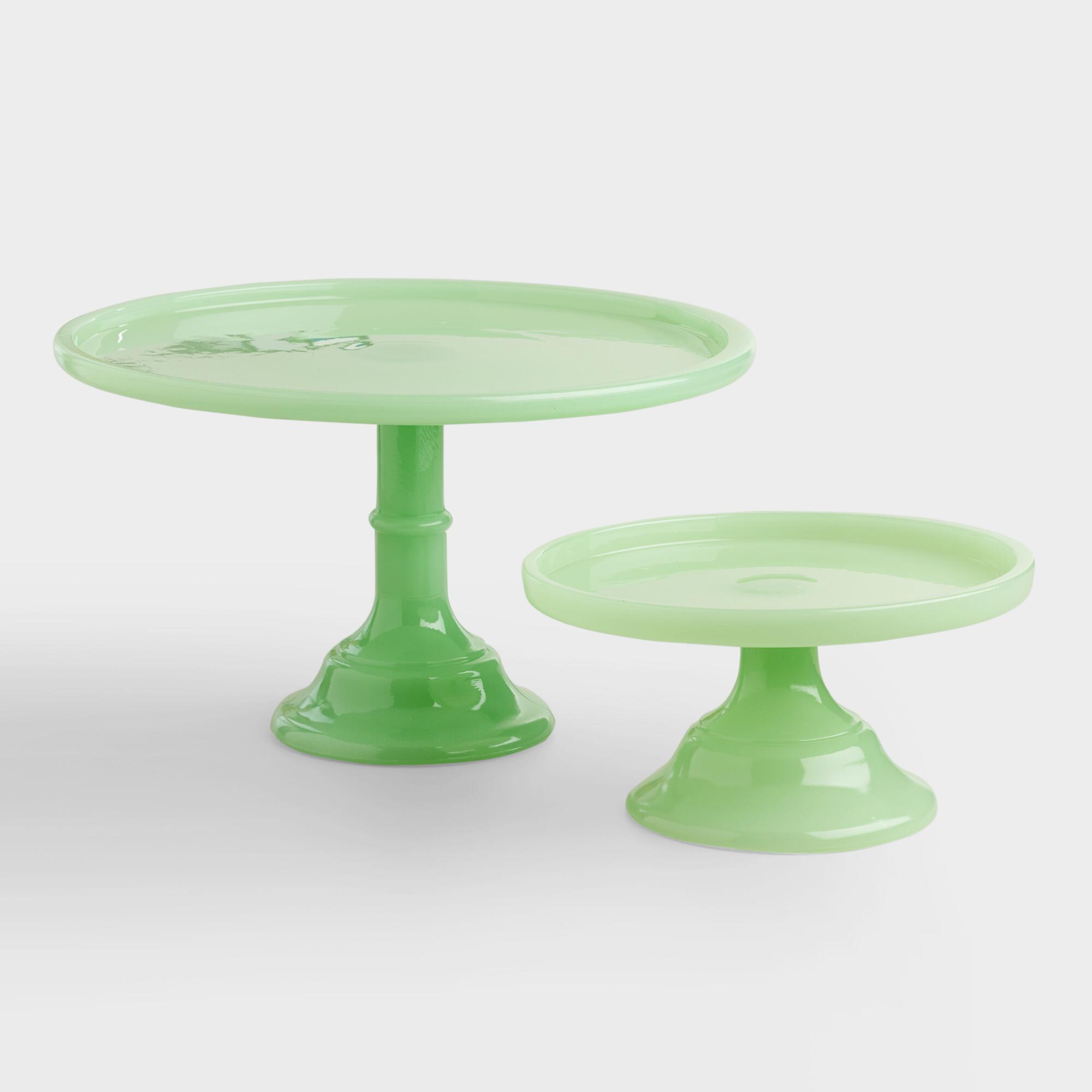 Jade colored glass pedestal stand world market for Colored glass cake stand