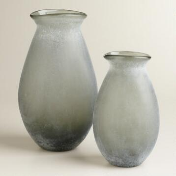 Gray Sea Glass Vases