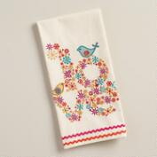 Embroidered Love Birds Kitchen Towel