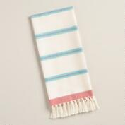 Aqua and Coral Villa Stripe Kitchen Towels, Set of 2
