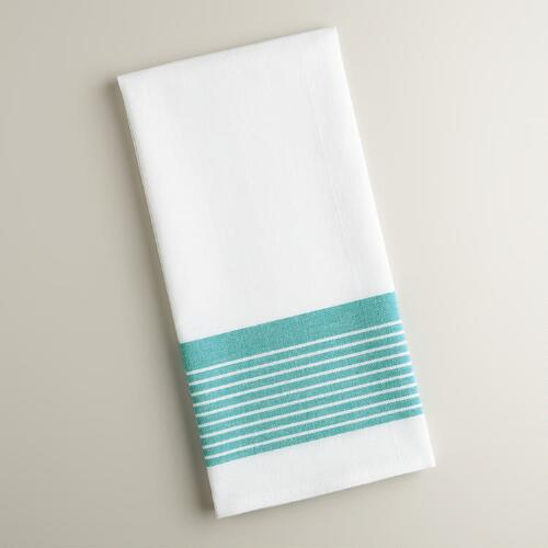 White and Aqua Border Stripe Kitchen Towels, Set of 2
