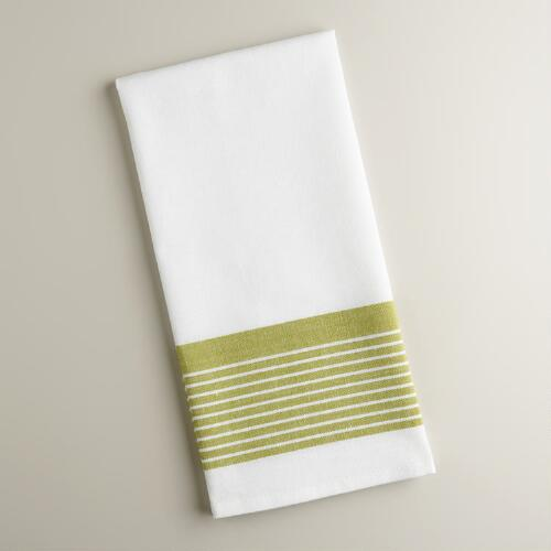 White and Green Border Stripe Kitchen Towels, Set of 2