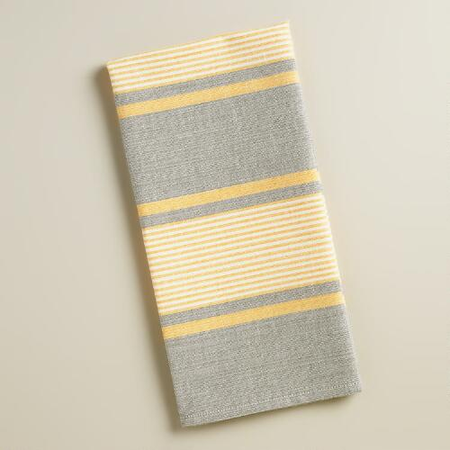 Gray and Yellow Striped Loire Kitchen Towels, Set of 2
