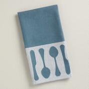 Blue Utensils Jacquard Kitchen Towel