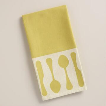 Green Utensils Jacquard Kitchen Towel