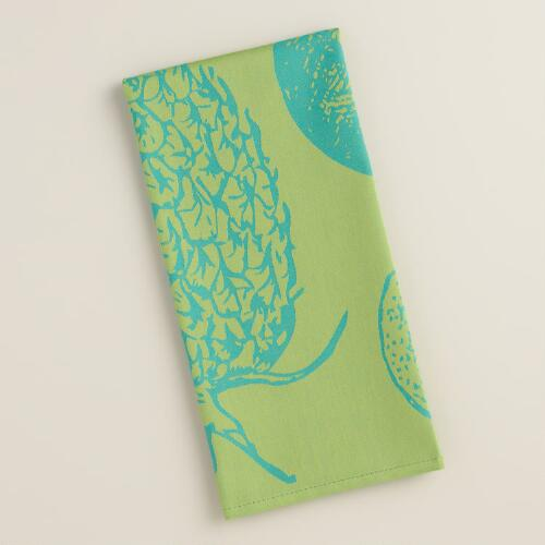 Aqua and Green Pineapple Jacquard Kitchen Towel
