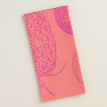 Fuchsia and Coral Pineapple Jacquard Kitchen Towel