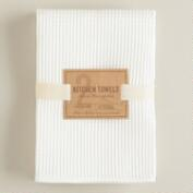 White Waffle Weave Microfiber Kitchen Towels, Set of 2