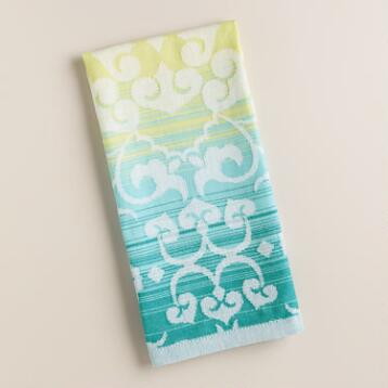 Blue and Green Ombre Jacquard Kitchen Towel