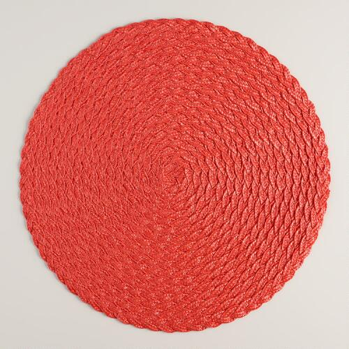Coral Round Braided Placemats,  Set of 4