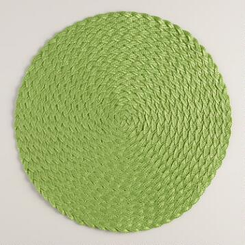 Kiwi Green Round Braided Placemats, Set of 4