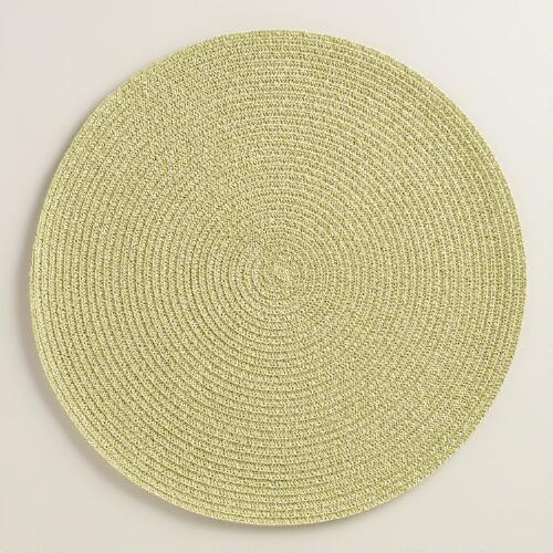 Light Green Round Braided Placemats, Set of 4