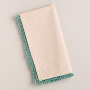 Aqua Chambray Crochet Napkins, Set of 4