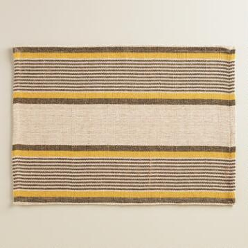 Yellow and Gray Striped Loire Placemats, Set of 4