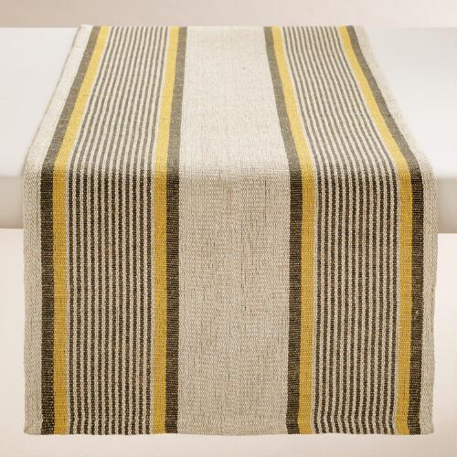 Yellow and Gray Striped Loire Table Runner