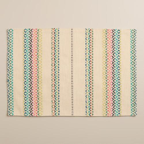 Natural Woven Stripe Chelsea Placemats, Set of 4