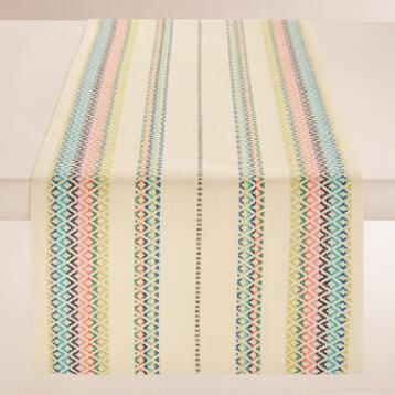 Natural Woven Stripe Chelsea Table Runner