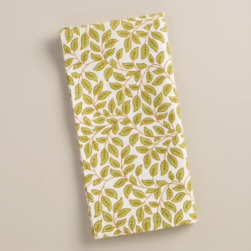 Green Leaves Cotton Napkins, Set of 4