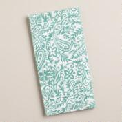 Aqua Paisley Cotton Napkins, Set of 4