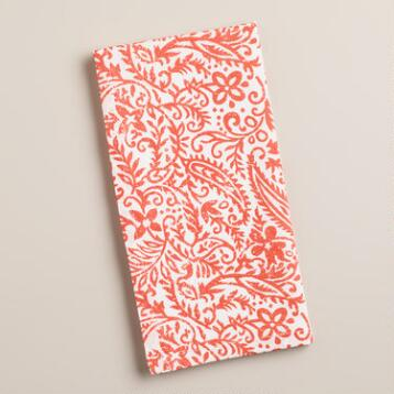 Coral Paisley Cotton Napkins, Set of 4