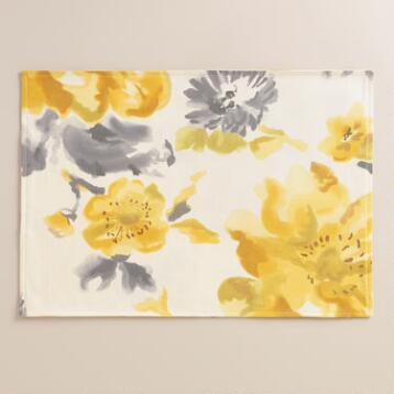 Yellow and Gray Floral Fleurs Placemats, Set of 4