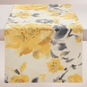 Yellow and Gray Floral Fleurs Table Runner