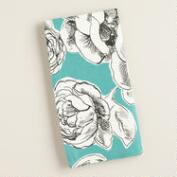 Aqua, Black and White Floral Rosie Napkins, Set of 4