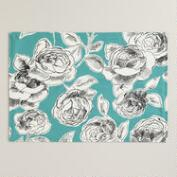 Aqua, Black and White Floral Rosie Placemats, Set of 4
