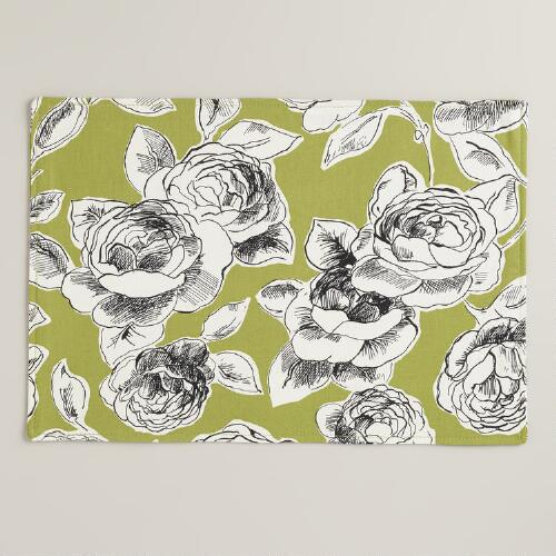 Green, Black and White Floral Rosie Placemats, Set of 4