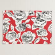 Red, Black and White Floral Rosie Placemats, Set of 4