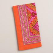 Orange and Pink Medallion Cotton Napkins, Set of 4