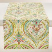 Multicolor Floral Ogee Cotton Table Runner